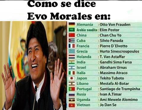 Meme como se dice Evo Morales en diferentes idiomas