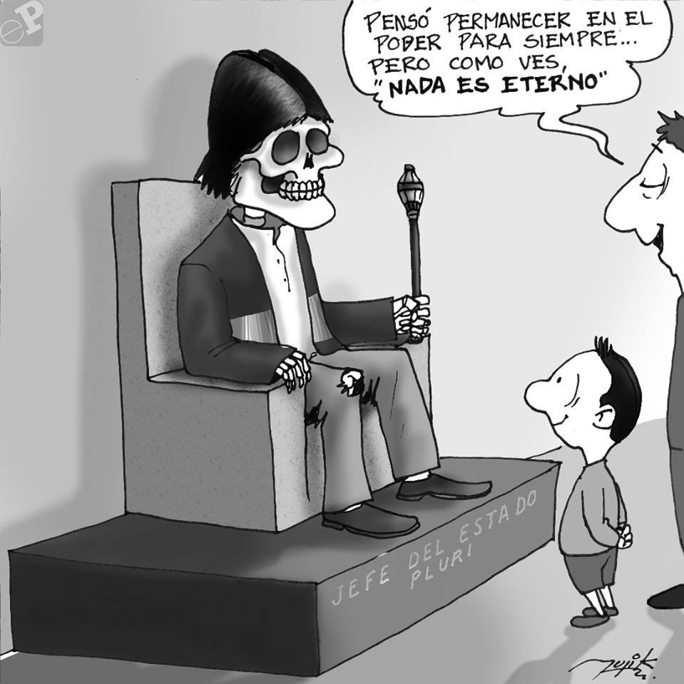 Caricatura de Evo momia