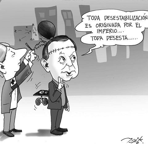 Caricatura sobre lavado cerebral