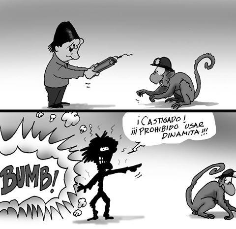 Caricatura Evo y dinamita