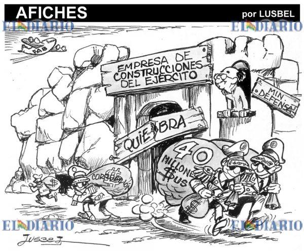 Caricatura sobre militares en el Estado Plurinacional