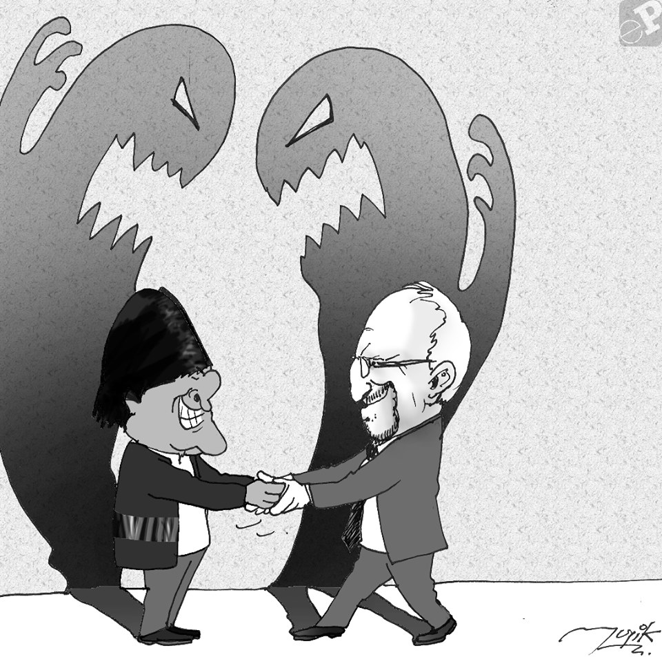 Caricatura de sonrisas de politicos