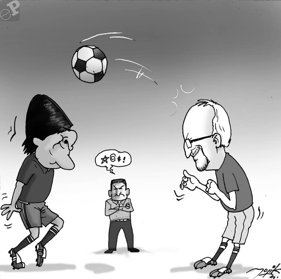 Caricatura de  Evo Morales y Adrian Oliva
