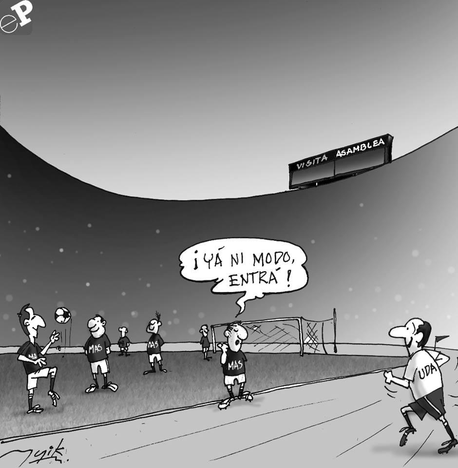 Caricatura sobre futbol en el Estado Plurinacional de Bolivia