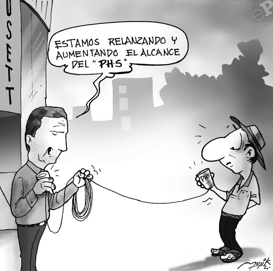 Caricatura sobre los proyectos de tecnología en el Estado Plurinacional