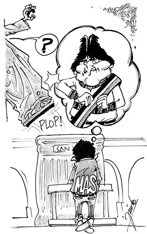 Caricatura de Evo santo