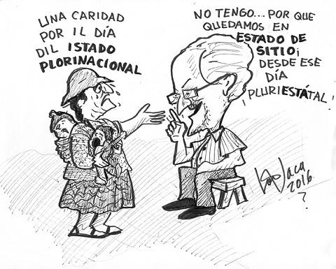 Caricatura Día del Estado Plurinacional