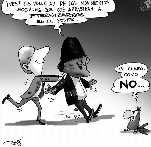 caricatura sobre reelección de Evo Morales