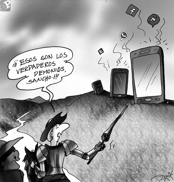 Caricatura de Evo y las redes sociales