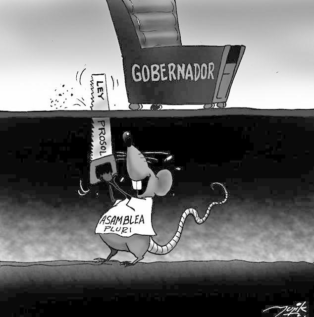Caricatura de serruchar la silla de gobernador
