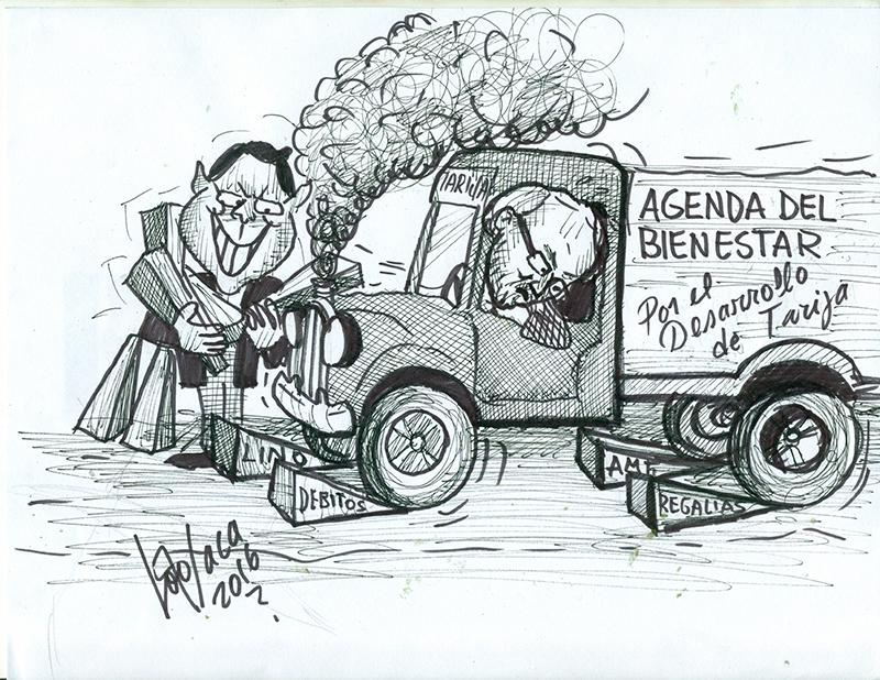 Caricatura de entrabar una gestión