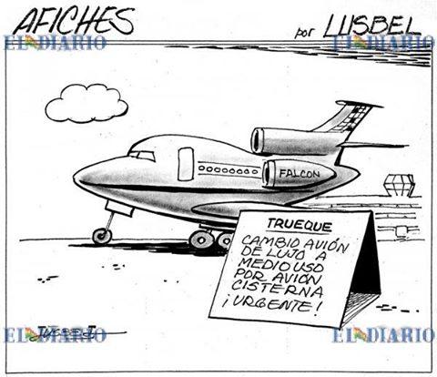 Caricatura del avión de Evo